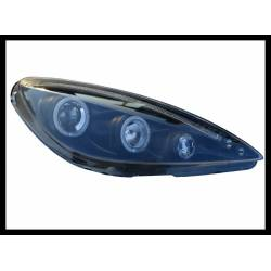 Set of headlamps angel eyes Peugeot 307 black
