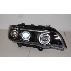 SET DE PHARES AVANT ANGEL EYES BMW X5 2001 NOIR