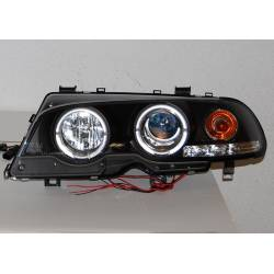 FARI ANTERIORE ANGEL EYES BMW E46 '99-02 2P. ELECT. BLACK MOD.II