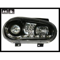 Faros Delanteros Luz De Dia Volkswagen Golf 4 Black Intermitente Led