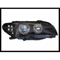 FARI ANTERIORE BMW E46  2P 2003-2005 BLACK INTERMITENTE LED