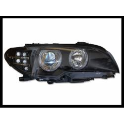 PHARE AVANT BMW E46  2P 2003-2005 NOIR LED INTERMITENTE