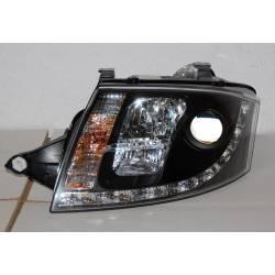 FANALI ANTERIORI REALE DAY LIGHT AUDI TT 99-05 BLACK 10PINS H7-H1